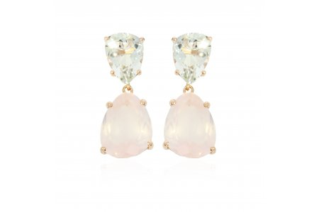 Aurora Rose Quartz and Green Amethyst Earrings