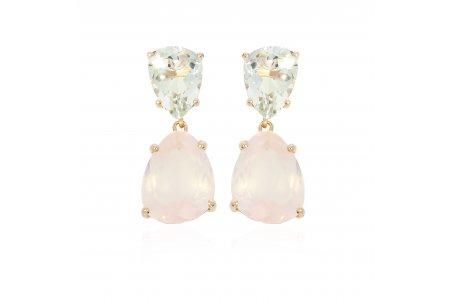 Aurora Rose Quartz and Green Amethyst Earrings