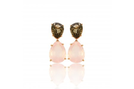 Aurora Rose Quartz and Smoky Quartz Earrings