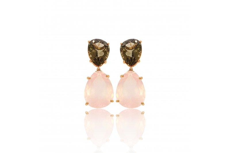 Aurora Rose Quartz and Smoky Quartz Earrings