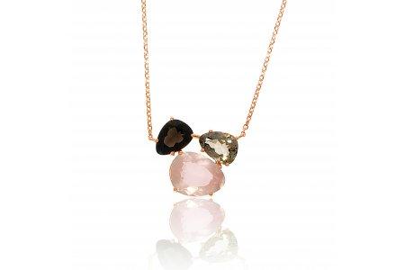 Aurora Rose Quartz and Smoky Quartz Necklace