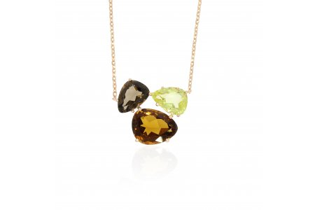 Aurora Whisky Quartz, Smoky Quartz and Lemon Quartz Necklace