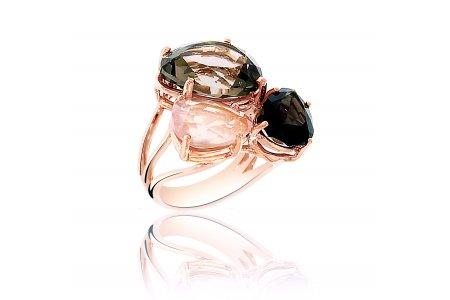 Aurora Smoky Quartz and Rose Quartz Ring