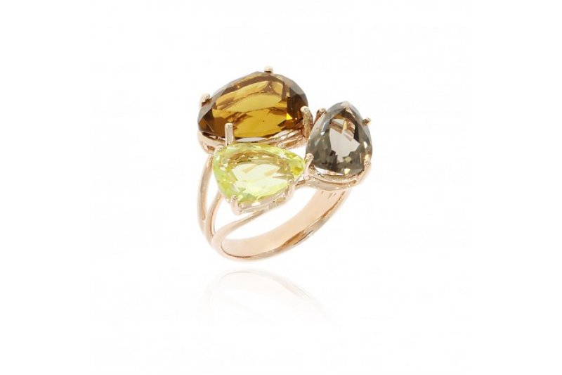 Aurora Whisky Quartz, Smoky Quartz and Lemon Quartz Ring