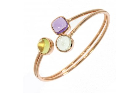 Carry Me Green Amethyst, Amethyst and Lemon Quartz Bangle