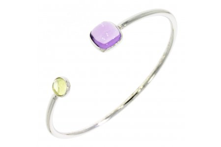 Carry Me Bangle in Amethyst and Lemon Quartz