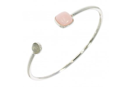 Carry Me Pink Opal and White Moonstone Bangle