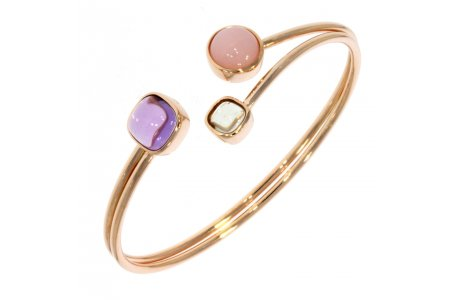 Carry Me Amethyst, Pink Opal and Green Amethyst Bangle