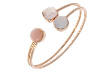 Carry Me 18ct Rose Gold Vermeil Pink Opal, Rose Quartz and Blue Chalcedony Bangle