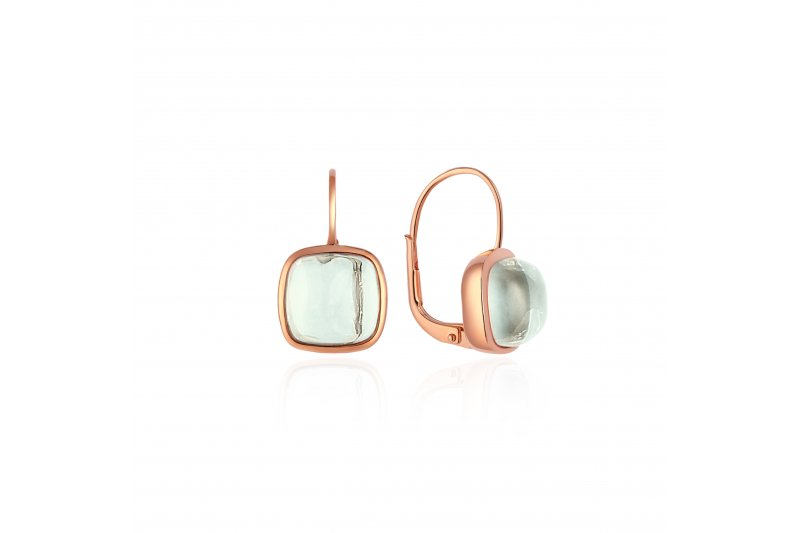 Carry Me 18ct Rose Gold Vermeil Earrings in Green Amethyst