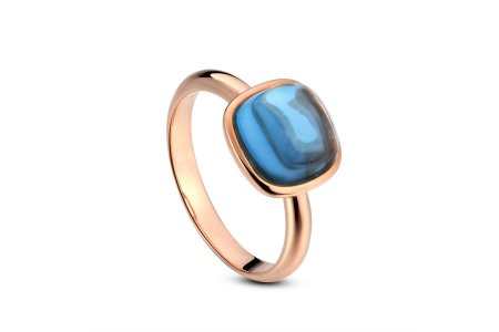 Carry Me 18ct Rose Gold Vermeil London Blue Topaz Ring