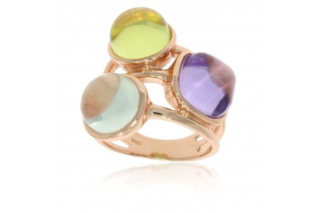 Carry Me Green Amethyst, Amethyst and Lemon Quartz Ring