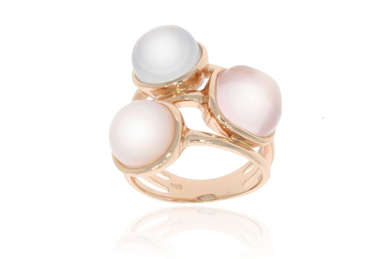 Carry Me Pink Opal, Rose Quartz and Blue Chalcedony Ring
