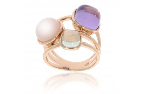 Carry Me Amethyst, Pink Opal and Green Amethyst Ring