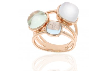 Carry Me Blue Chalcedony, Green Amethyst and Blue Topaz Ring