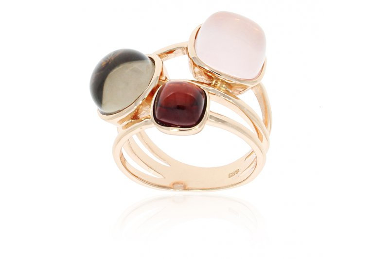 Carry Me Rose Quartz, Smoky Quartz and Garnet Ring