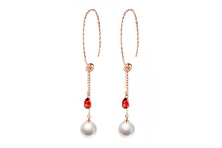 Myth 18ct Rose Gold Garnet and Freshwater Pearl Earrings Hoop