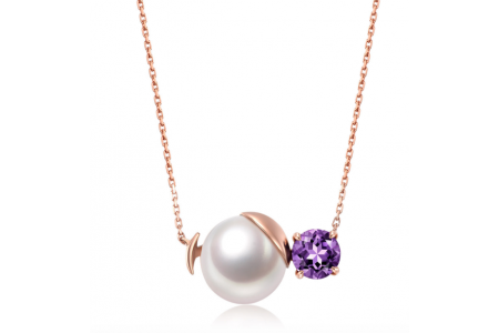 Myth 18ct Rose Gold Amethyst and Freshwater Single Pearl Necklace