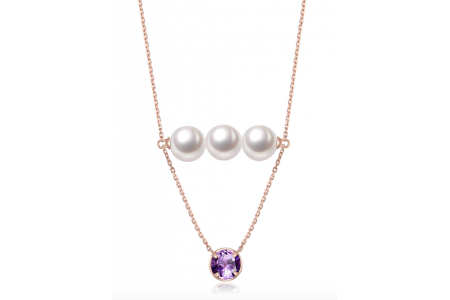 Myth 18ct Rose Gold Amethyst and Freshwater Pearl Drop Necklace