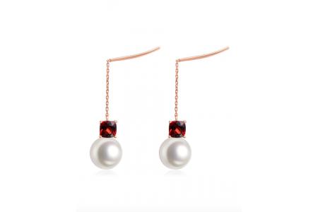 Myth 18ct Rose Gold Garnet and Freshwater Pearl Threader Earrings