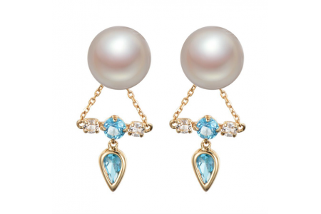 Myth 18ct Yellow Gold London Blue Topaz and Freshwater Pearl Earrings