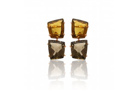 Fancy Whisky Quartz and Smoky Quartz Earrings