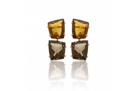 Fancy Whisky Quartz and Smoky Quartz Earrings