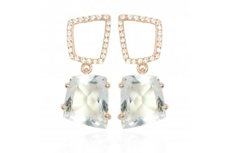 Fancy 18ct Rose Gold Green Amethyst Earrings