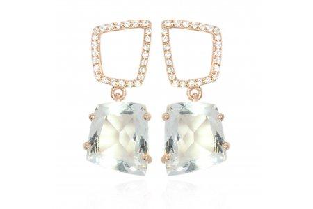 Fancy 18ct Rose Gold Green Amethyst Earrings