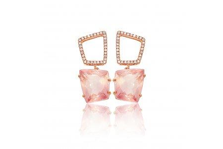 Fancy Rose Quartz Earrings