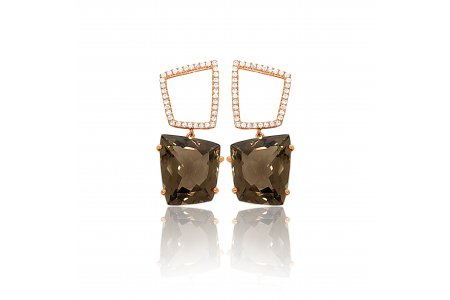 Fancy Smoky Quartz Earrings