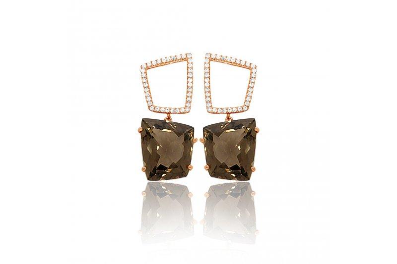 Fancy Smoky Quartz Earrings