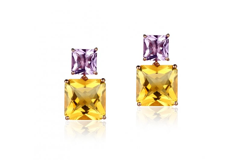 Mystique Citrine and Amethyst Earrings