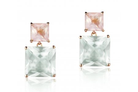 Mystique Green Amethyst and Rose Quartz Earrings