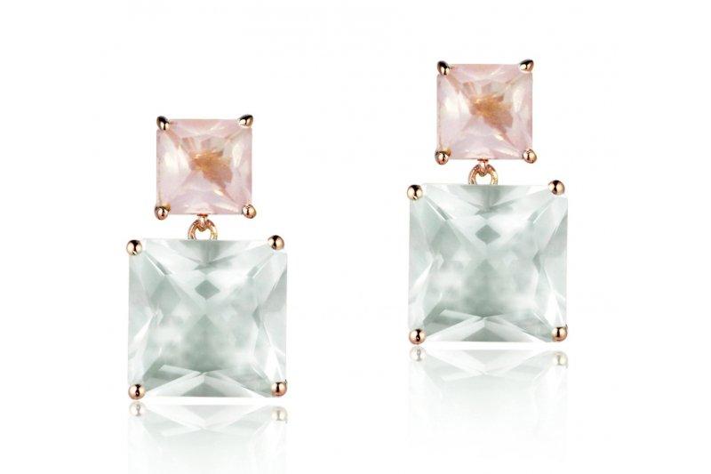 Mystique Green Amethyst and Rose Quartz Earrings