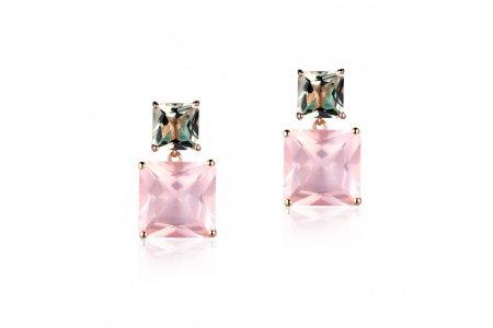 Mystique Rose Quartz and Green Amethyst Earrings