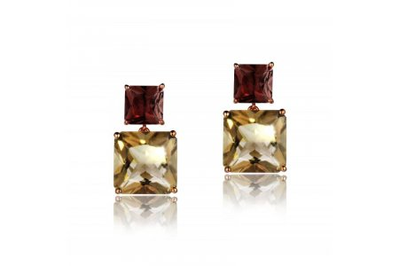 Mystique Smoky Quartz and Garnet Earrings