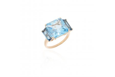 Mystique Blue Topaz and London Blue Topaz Ring