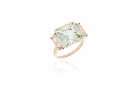 Mystique Green Amethyst and Rose Quartz Ring