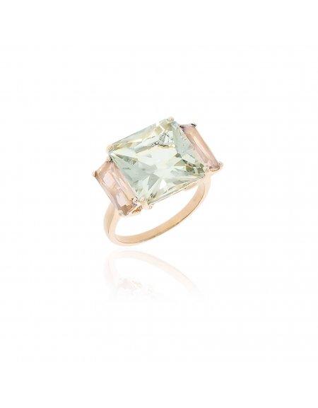 Mystique Green Amethyst and Rose Quartz Ring