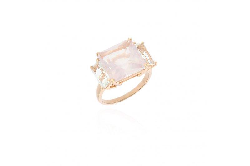 Mystique Rose Quartz and Green Amethyst Ring