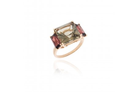 Mystique Smoky Quartz and Garnet Ring