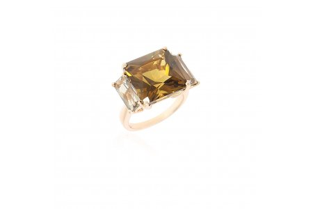 Mystique Whisky Quartz and Smoky Quartz Ring